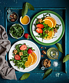 Winter Salad with Oranges Strawberries and Arugula