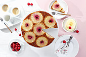 Pineapple and raspberry upside down cake