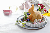 Baked sweet easter bunny with festive decor