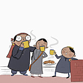 Kashmiri family enjoying noon chai tea
