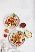 Spicy avocado and oyster mushroom ceviche with strawberries