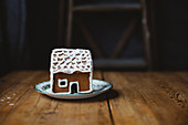 Little gingerbread house on table