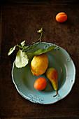 Zitrone, Aprikose und Birne