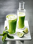 Cucumber lime and mint green juice