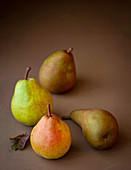 Selection of different varieties of pears