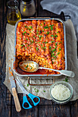 Cannelloni with meat and tomato sauce