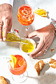 Aperol Spritz with bread and oil