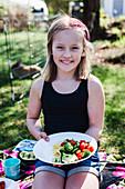 Girl having picnic
