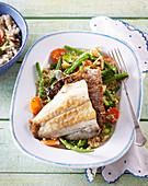 Pike perch (zander) with buckwheat salad