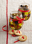 Pickled olives with Balkan cheese and cheese cookies