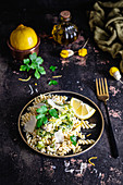 Ppasta with broccoli, lemon zest, oil and parsley