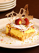 Cream slices with a caramel lattice