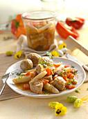 Putengulasch mit Spargel und Paprika