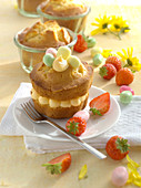 Easter vanilla gugelhupf baked in a glass with strawberries