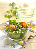 Wild herb salad with fried quail eggs