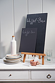 Slate boards for writing on for a buffet