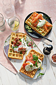 Three savoury waffle variations