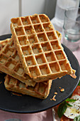 Savoury waffles with herbs