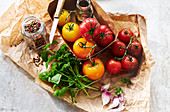 Ingredients for a colorful tomato salad