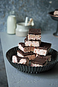 Marshmallow rice bars with chocolate icing