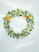 Wreath made from different herbs