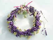 A lavender wreath on a light background