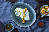 Grilled flounder with peach and corn salsa