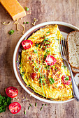 Omelette with cheddar and cherry tomatoes
