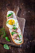 Sandwich with fried egg and smoked fish