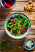 Rocket and beetroot salad with feta and walnuts