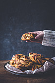 Tray with cinnamon rolls