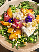 Grilled Peaches and Burrata Salad with Corn and Baby Arugula