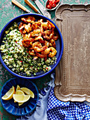 Moroccan Harissa Prawns with Pineapple Tabbouleh