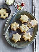 Linzer stars with vanilla cream