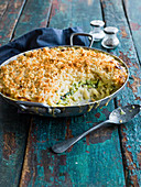 Courgette mac and cheese with garlic sourdough crumbs
