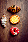 Donut, croissant and cream bread