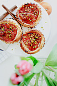 Puff pastries with blood oranges and marzipan