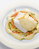 Flavored soy foam with cod (molecular cuisine)