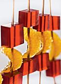 Campari orange skewers (molecular cuisine)