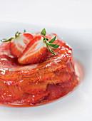 Gelled strawberry gin tartlets (molecular cuisine)