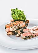 Salmon with iodized salt (molecular cuisine)