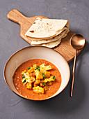 Aloo Gobi Curry with Roti (Vegan)