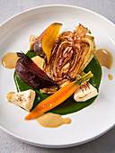 Flame kissed pointed cabbage with roasted root vegetables (vegan)
