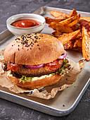 Veggie Burger on a wheat bun with Joppiesauce (Vegan)