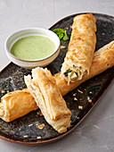 Tofu-Spinach-Puff Pastry Rolls (Vegan)