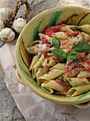 Pasta alla trapanese (Pasta with basil, garlic, fresh tomato and extra virgin)