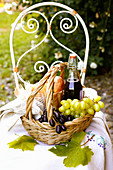 Autumn composition with wicker basket on a vintage chair