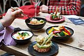 Thai street food on a table