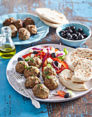 Meat balls (keftedes) with Greek salad