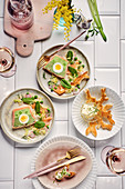 Salmon terrine with spinach, peas, and egg with Easter bunny toast